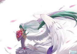 1girl absurdres bouquet bridal_veil carrying commentary_request dress elbow_gloves feathered_wings feathers flower gloves green_hair hatsune_miku highres long_hair solo sugar_sound translation_request twintails veil very_long_hair vocaloid wedding_dress white_dress white_gloves white_wings wind wings