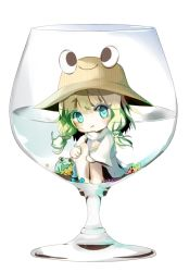 1girl :/ animal aqua_eyes blonde_hair bow cup eyelashes flower food frog glass hair_bow hair_ornament hat in_container in_cup in_food leg_hug long_sleeves looking_at_viewer minigirl moriya_suwako nakaikane shirt short_hair simple_background skirt skirt_set smile solo touhou turtleneck vest white_background wide_sleeves