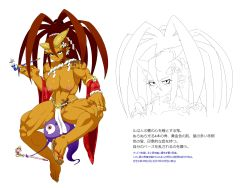 1girl big_hair breasts character_profile cleavage detached_sleeves freckles ghost highres horns jewelry jill_besson_(vordandan) large_breasts loincloth long_hair muscle nipples no_panties oni orange_skin original pipe pointy_ears red_hair ring rope sagging_breasts sandals shimenawa single_shoe sitting solo tattoo thick_thighs thighs translation_request wide_sleeves