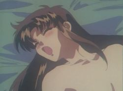 2girls 90s animated animated_gif blonde_hair blush breasts brown_hair fellatio futa_with_female futanari long_hair midorizawa_saki multiple_girls nipples nude open_mouth oral parade_parade shina_kaori