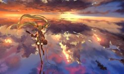 1girl bare_shoulders black_legwear cable cloud cloudy_sky electric_guitar green_hair guitar hair_ribbon hatsune_miku instrument necktie reflection ribbon shirt skirt sky solo sunglasses thighhighs touhou twintails vocaloid wide_sleeves wind zettai_ryouiki