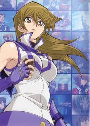 blonde_hair duel_disk lipstick makeup obelisk_blue_uniform official_art solo tenjouin_asuka yellow_eyes yu-gi-oh! yuu-gi-ou_(card) yuu-gi-ou_gx