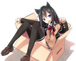 1girl :d animal_ears blazer blue_eyes box cardigan cat_ears fang hair_ribbon in_box in_container long_hair open_mouth ribbon school_uniform smile solo taka_(kono_harutaka) thighhighs yahari_ore_no_seishun_lovecome_wa_machigatteiru. yukinoshita_yukino zettai_ryouiki