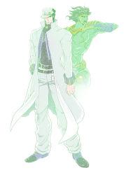 2boys hat jacket jojo_no_kimyou_na_bouken kuujou_joutarou long_coat multiple_boys nanasan stand_(jojo) star_platinum turtleneck white_jacket