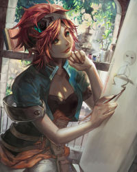 1girl artist_name braid breasts canvas_(object) cleavage drawing dutch_angle green_eyes highres looking_up orange_hair original paintbrush plant realistic shirt short_hair solo watermark window