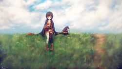 1girl artist_name bandage bandaged_leg bangs black_hair black_legwear boots bow cape chomusuke closed_mouth cloud cloudy_sky creature cross-laced_clothes day dress fingerless_gloves flat_chest gloves grass hat hat_removed headwear_removed kono_subarashii_sekai_ni_shukufuku_wo! looking_at_viewer megumin nishi_yasuaki on_ground outdoors petting pigeon-toed red_boots red_bow red_dress red_eyes road short_dress signature single_thighhigh sky smile staff thighhighs witch_hat