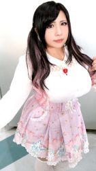 1girl asian black_hair breasts chouzuki_maryou large_breasts photo plump solo