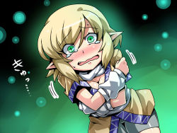 1girl arm_warmers blonde_hair blush commentary_request crossed_arms fang green_eyes highres looking_at_viewer mizuhashi_parsee open_mouth pointy_ears sash scarf shirt skirt solo tears touhou tsuki_wani wavy_mouth