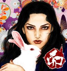 1girl black_hair bunny face floral_background green_eyes jojo_no_kimyou_na_bouken long_hair sabano_(haldir) upper_body yamagishi_yukako