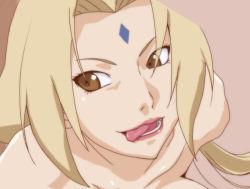 1girl blonde_hair brown_eyes kyabakurabakufu naruto open_mouth solo tagme tongue_out tsunade