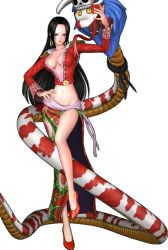 1girl 3d amazon blue_eyes blush boa_hancock breasts full_body legs midriff one_piece one_piece:_pirate_warriors salome_(one_piece) simple_background snake solo