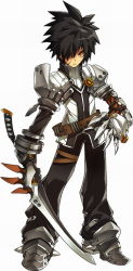 1boy armor belt black_hair claws elsword gloves hair_over_one_eye jacket male_focus official_art pants raven_(elsword) ress serious shoes solo spiked_hair standing sword weapon white_background yellow_eyes