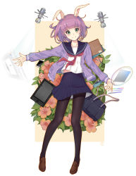 1girl absurdres animal_ears bag black_legwear black_skirt bunny_ears collarbone eyebrows_visible_through_hair full_body gh_(chen_ghh) green_eyes highres jacket looking_at_viewer official_art open_clothes open_jacket original outstretched_arm pantyhose pleated_skirt purple_hair purple_jacket school_bag school_uniform serafuku shirt short_hair simple_background skirt solo white_background white_shirt