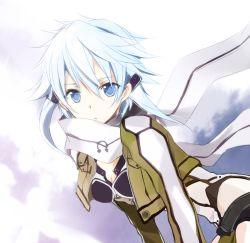 1girl blue_eyes blue_hair jacket revision scarf shinon_(sao) short_hair sword_art_online tsukimori_usako