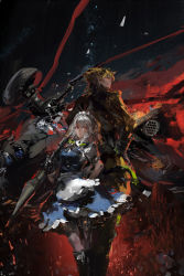 1boy 1girl abstract apron back-to-back black_boots black_ribbon blonde_hair blue_dress boots braid burning carrying_over_shoulder copyright_request crop_top crossover debris dio_brando dress earrings explosion fire green_ribbon hair_ribbon hand_on_hip holding izayoi_sakuya jewelry jojo_no_kimyou_na_bouken long_sleeves maid_headdress monster night night_sky outdoors pants puffy_short_sleeves puffy_sleeves red_eyes ribbon rocket shards short_sleeves silver_hair sky standing star_(sky) stu_dts touhou twin_braids waist_apron white_apron