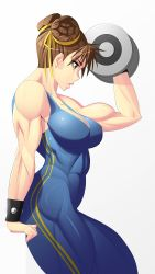 1girl 90s absurdres alternate_costume biceps breasts brown_eyes brown_hair bun_cover chun-li da_next_art dumbbell female from_side hair_ribbon highres large_breasts muscle muscular_female ribbon short_hair sleeveless solo street_fighter street_fighter_zero street_fighter_zero_(series) unitard weightlifting