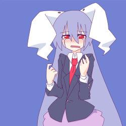 1girl animal_ears blazer bunny_ears crying kakinoki_mikan_(kari) long_hair necktie purple_hair red_eyes reisen_udongein_inaba skirt solo streaming_tears tears touhou