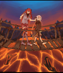 2girls anklet armor barefoot blue_eyes borrowed_character bridge cecilia_(acerailgun) cloak erica_(acerailgun) greaves hairband hanging_bridge highres horns jewelry letterboxed long_hair molten_rock multiple_girls nerior original red_hair red_skirt skirt spaulders thighhighs walking watermark web_address white_hair witch yellow_eyes