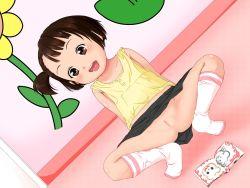 1girl black_hair brown_hair exhibitionism flat_chest loli okina_kodomo_no_omochabako open_mouth panties_removed pussy short_hair socks spread_legs upskirt