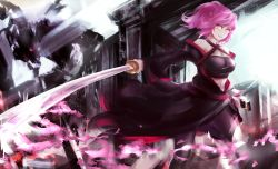 1girl artist_request dragon female orange_hair original pink_hair pixiv_fantasia short_hair sword weapon zairiku