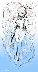 1girl barefoot fingerless_gloves fire_emblem fire_emblem:_rekka_no_ken futabaaf gloves high_ponytail highres long_hair lyndis_(fire_emblem) monochrome sword very_long_hair weapon