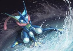 absurdres blue_skin frog greninja hand_seal highres long_tongue no_humans pokemon pokemon_(creature) red_eyes solo t@kuyoa takuyoa tongue water