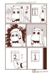 (o)_(o) april_fools calendar comic commentary_request highres horns kantai_collection long_hair mittens monochrome moomin moomintroll northern_ocean_hime northern_ocean_hime_(cosplay) sazanami_konami shinkaisei-kan translation_request twitter_username