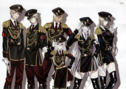 3boys 3girls absurdres awashima_seri blonde_hair boots dark_skin earrings gloves gun hand_on_hip hat heterochromia highres huge_filesize jewelry k_(anime) kamamoto_rikio kusanagi_izumo kushina_anna long_hair military military_uniform multiple_boys multiple_girls neko_(k) pink_hair smoking totsuka_tatara uniform weapon white_glove