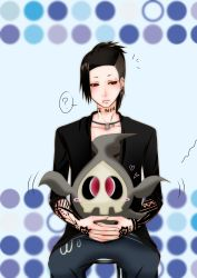 1boy ? black_hair black_sclera blush_stickers chair crossover duskull earrings hands_together heart highres holding interlocked_fingers lip_piercing long_hair necklace open_mouth piercing pokemon ponytail red_eyes sitting tattoo tokyo_ghoul uta_(tokyo_ghoul)