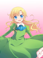 1girl :d ascot blonde_hair blue_eyes dress gradient gradient_background green_dress ib kashiwadokoro long_hair looking_at_viewer mary_(ib) open_mouth simple_background smile solo