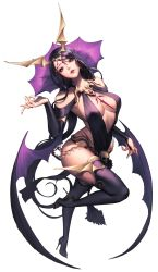 1girl alternate_costume bare_shoulders black_boots black_legwear boots breasts bridal_gauntlets chaos_heroes_online chaos_online demon_wings full_body head_tilt high_heel_boots high_heels highres long_hair looking_at_viewer love_cacao nivas official_art parted_lips purple_eyes purple_hair simple_background skull solo thigh_boots thighhighs transparent_background very_long_hair wings