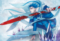 1boy blue_hair cape crossover earrings fate/stay_night fate_(series) gae_bolg jewelry jun_(ash) lancer long_hair monster_hunter polearm red_eyes solo spear weapon