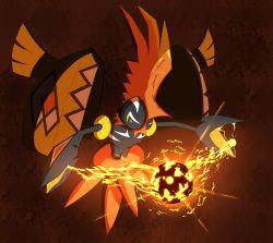 arena_(skryohei2006) blue_eyes electricity mohawk multicolored_eyes no_humans orange_eyes pokemon pokemon_(creature) pokemon_(game) pokemon_sm shield solo tapu_koko