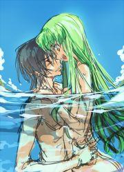 1boy 1girl :d black_hair c.c. code_geass creayus green_hair hug in_water lelouch_lamperouge long_hair nude open_mouth short_hair smile yellow_eyes