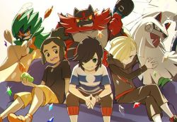 3boys bangs bangs_pinned_back baseball_cap beans black_hair black_hat blonde_hair capri_pants dark_skin decidueye gladio_(pokemon) green_eyes green_hair grin hair_over_one_eye hat hat_removed hau_(pokemon) headwear_removed hood hoodie incineroar looking_at_viewer male_focus male_protagonist_(pokemon_sm) multiple_boys natsuno_hamuto orange_shorts pants pokemon pokemon_(creature) pokemon_(game) pokemon_sm pout shirt short_hair short_ponytail shorts silvally sitting smile striped striped_shirt swept_bangs t-shirt z-ring