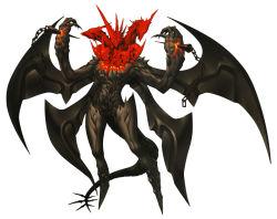 1boy chains claws demon doi_masayuki hands_up horns male_focus multiple_heads multiple_wings official_art satan shin_megami_tensei shin_megami_tensei_iv shin_megami_tensei_iv_final shoulder_spikes skull spikes tail wings