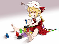 1girl ascot asu_tora barefoot blonde_hair commentary crystal flandre_scarlet full_body hat hat_ribbon mob_cap pointy_ears puffy_short_sleeves puffy_sleeves red_eyes red_ribbon red_skirt ribbon short_sleeves side_ponytail sitting skirt solo squiggle touhou vest wings