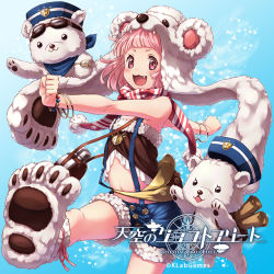 1girl :3 animal_hat animal_slippers bare_shoulders bead_bracelet bear canteen copyright_name gradient_background hat midriff monokuru official_art open_mouth pink_eyes pink_hair polar_bear pouch scarf scroll suspenders tenkuu_no_kurafuto_furito watch wristband
