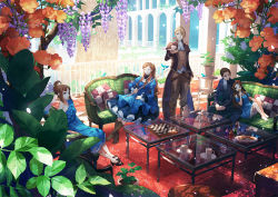 2boys 3girls animal arch bangs bare_arms bare_legs bare_shoulders barefoot bird black_shoes blue_coat blue_dress blue_eyes board_game boots bottle bow breasts brooch brown_boots brown_coat brown_pants buttons candy carpet checkered chess chess_piece chessboard cleavage closed_mouth coat collarbone cookie couch covered_mouth cravat crossed_ankles cup cushion dappled_sunlight day detached_collar dress eyes_closed floor flower folded_ponytail food glass_table hair_bow hair_flower hair_ornament hair_ribbon high_heels holding holding_food holding_plate indoors jewelry juliet_sleeves knees_up leaning_back leaning_on_person legs_apart long_hair long_sleeves looking_at_another looking_at_viewer low_ponytail multiple_belts multiple_boys multiple_girls off-shoulder_dress off_shoulder on_couch open_toe_shoes orange_flower original own_hands_together pants parted_bangs patterned petals petticoat plant plate pole ponytail potted_plant profile puffy_sleeves purple_flower railing reflection ribbon rose saucer shadow shirt shoes short_sleeves side_glance sidelocks silhouette sitting smile spring_(season) standing stool sunlight swept_bangs table tailcoat tea tea_party tea_set teacup teapot tile_floor tiles toichi_(ik07) tree untucked_shirt very_long_hair waistcoat white_shirt wisteria yellow_bow yellow_rose