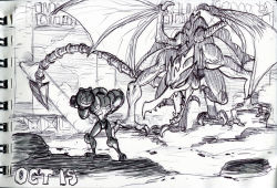 1girl alex_ahad arm_cannon dated faceoff metroid ridley samus_aran scan scan_artifacts size_difference sketch tail traditional_media varia_suit weapon wings