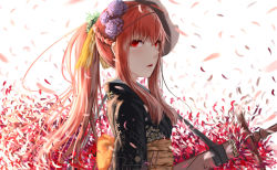 1girl elesis_(elsword) elsword face_mask floral_print flower hair_flower hair_ornament highres japanese_clothes kimono long_hair looking_at_viewer mask obi petals ponytail red_eyes red_hair sash solo sword upper_body weapon white_background yi_(sad55566777)