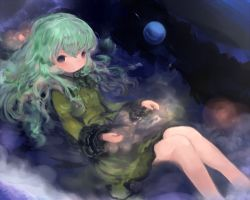 1girl adapted_costume dress green_dress green_hair grey_eyes komeiji_koishi long_hair long_sleeves looking_at_viewer maccha_cocoa_(mococo) no_hat partially_submerged solo third_eye touhou very_long_hair wide_sleeves