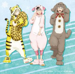 3boys animal_costume animal_print artist_request black_hair blonde_hair blue-framed_eyewear blue_eyes brown_eyes dog_costume glasses gloves green_eyes hair_over_one_eye katsuki_yuuri leopard_print male_focus multiple_boys official_art open_mouth paw_gloves paw_shoes paws pig_costume pillow pillow_hug shoes silver_hair smile tiger_costume tiger_print viktor_nikiforov yuri!!!_on_ice yuri_plisetsky