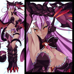 1girl argyle argyle_legwear arms_up bangs bed_sheet blush body_blush bow breasts center_opening claws cleavage dakimakura dragon_girl dragon_wings dress drooling elbow_gloves extra_mouth eyebrows eyebrows_visible_through_hair female from_above full_body gem glowing glowing_eyes gold_tooth grin hair_between_eyes hand_up heart jabberwock_(monster_girl_encyclopedia) large_breasts loen-lapae long_hair long_tongue looking_at_viewer lying monster_girl monster_girl_encyclopedia multicolored_hair navel no_bra on_back purple_hair red_eyes scales smile strapless strapless_dress tentacle thick_thighs thighs tongue_out torn_wings wide_hips wings