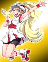 1girl :d armpits bicycle_helmet bike_shorts blonde_hair blue_eyes bu-kunn helmet koruni_(pokemon) long_hair open_mouth pokemon pokemon_(game) pokemon_xy ponytail roller_skates skates smile solo