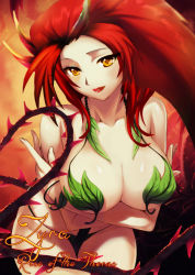 1girl breasts leaf league_of_legends long_hair monster_girl plant red_hair reyard smile solo vines zyra