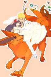 blonde_hair fox husband_and_wife hyuuga_hinata kurama_(naruto) multiple_tails naruto princess_carry riding ume7610 uzumaki_naruto veil wedding_dress whiskers