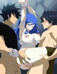 1girl 2boys anal areolae bdsm black_hair blue_hair blush bondage bottomless bound breasts crossover cum cum_in_ass double_penetration fairy_tail fucked_silly gray_fullbuster hamrio_musica held_up juvia_loxar large_breasts lexus_(artist) long_hair multiple_boys nipples open_mouth rave_master saliva sex standing_double_penetration tongue_out uncensored vaginal