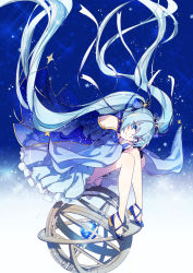 1girl blue_eyes blue_hair bow dress earrings frilled_dress frills hair_bow hair_ornament hairclip hatsune_miku highres jewelry long_hair looking_at_viewer pale_skin sakon04 sitting smile snowflakes snowing solo star twintails very_long_hair vocaloid yuki_miku