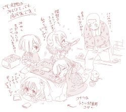 admiral_(kantai_collection) alabaster_(artist) box cardboard_box chibi drooling food fruit hamakaze_(kantai_collection) haori highres japanese_clothes kantai_collection kashima_(kantai_collection) kashima_(kantai_collection)_(cosplay) kotatsu mandarin_orange monochrome prinz_eugen_(kantai_collection) ro-500_(kantai_collection) sandals sleeping smile table translation_request under_kotatsu under_table